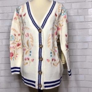 Anthropology Embroidered Sweater Cardigan NWT